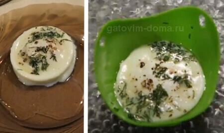 Готовое яйцо Пашот в силиконовых формочках
