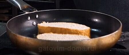 Поджарка белого хлеба на сковороде со сливочным маслом