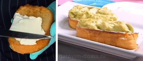 Творожный сыр и паста авокадо на поджаренном белом хлебе