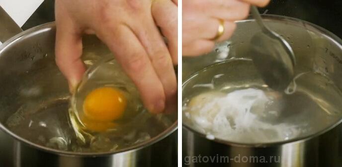 Процесс варки яйца пашот в воронке из воды