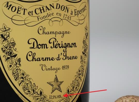 Обозначение крепости шампанского на этикетке Dom Perignon