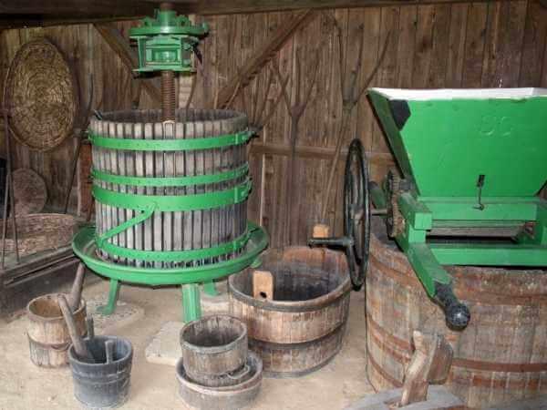 Процесс отжима винограда с помощью специального пресса