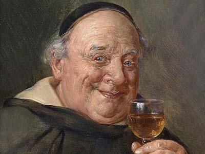 Французский монах Пьер Периньон с бокалом шампанского в возрасте 60 лет