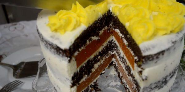 Вкусный бисквитный торт с абрикосами и шоколадом